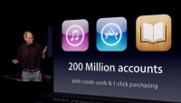 Apple CEO Steve Jobs at the company's iPad 2 unveiling last week (via Apple webcast)