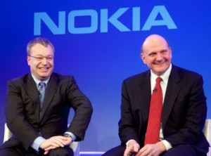 Nokia's Stephen Elop and Microsoft's Steve Ballmer. (Credit: Microsoft)