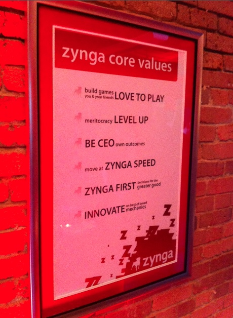 Zynga's mission statement adorns the wall at the company's Seattle office