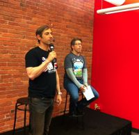 Zynga CEO Mark Pincus, left, in Seattle with Zynga VP Neil Roseman