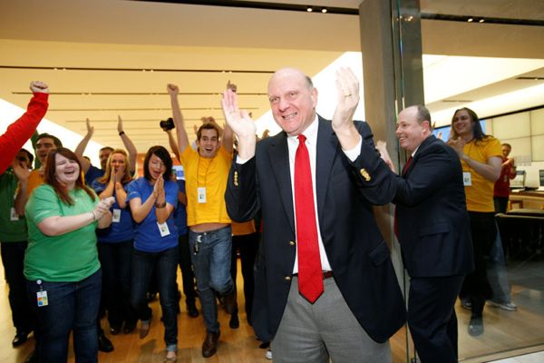 Microsoft CEO Steve Ballmer opens the company's Bellevue Square store in November, 2011.