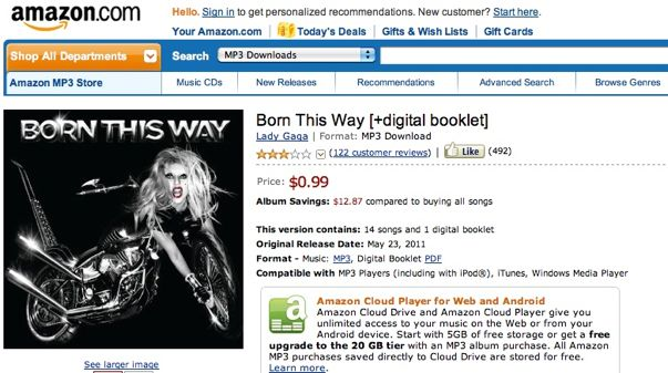 Amazon sells Lady Gaga's 'Born this Way' for 99 cents – GeekWire