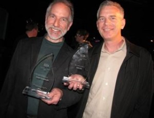 Cliff Kushler, left, and Mike McSherry of Swype at last year's Seattle 2.0 Startup Awards