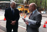 Mayor Mike McGinn chats with former City of Seattle CTO Bill Schrier in Pioneer Square last year.