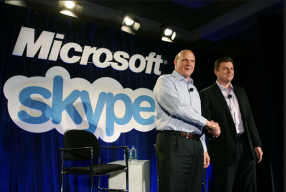 Microsoft CEO Steve Ballmer and Skype CEO Tony Bates announce their deal in May 2011.
