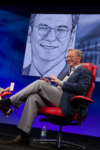 Eric Schmidt speaks Tuesday night at the D9 conference. (Credit: Asa Mathat, All Things Digital)