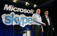 Microsoft's Steve Ballmer and Skype's Tony Bates announce the deal in May.