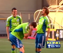 A famous moment in the Timbers-Sounders rivalry
