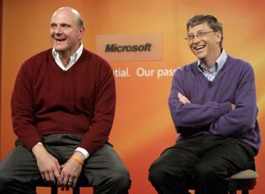 Steve Ballmer and Bill Gates at the 2006 news conference announcing Gates' retirement plans. Robert Sorbo/Microsoft.