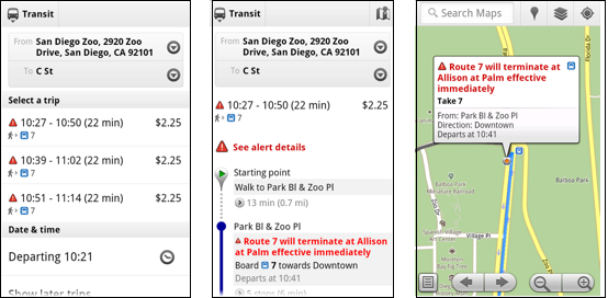 Real-time transit updates in Google Maps
