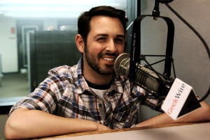 Rand Fishkin in the KIRO studios. (Erynn Rose photo)