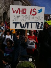 Sign at a demonstration for Egypt in San Francisco in January. (Steve Rhodes photo, via Flickr)