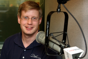 Jon Bach of Puget Systems in the KIRO-FM studios. (Erynn Rose photo)