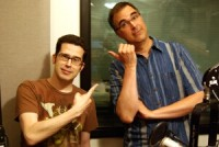 Chris Pirillo and Frank Catalano point fingers after the show in the KIRO studios (Erynn Rose photo)