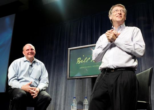 Gates and Ballmer at the Microsoft co-founder's farewell event in 2008.