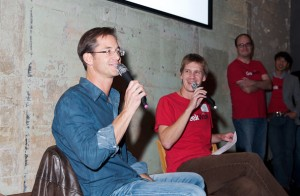 Zillow co-founder Rich Barton speaks with GeekWire's John Cook at the GeekWire Meetup in Seattle