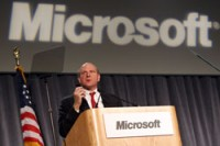 Steve Ballmer at a past Microsoft shareholder meeting. (Microsoft photo)