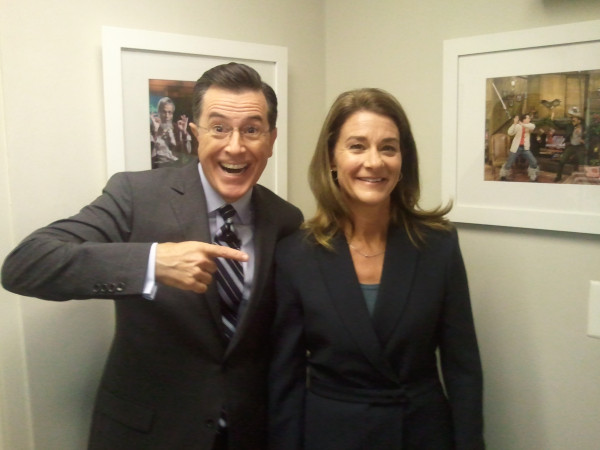 Melinda Gates, right, tweeted this photo of herself and Stephen Colbert.