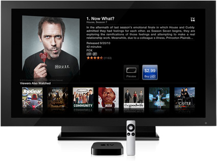 The existing Apple TV peripheral and on-screen interface.
