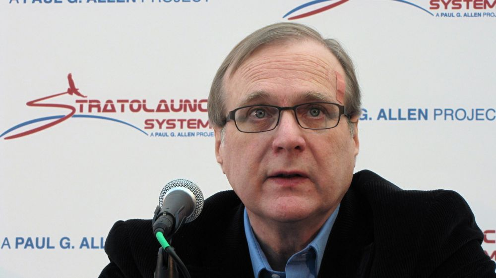 Paul Allen at the Stratolaunch announcement in 2011. (GeekWire File Photo.)