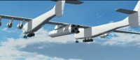 A depiction of Paul Allen's giant Stratolaunch carrier plane, with rocket attached.
