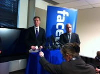 Rob McKenna, left, and Craig Clark, Facebook lead litigation counsel, announced the case at a news conference in January.
