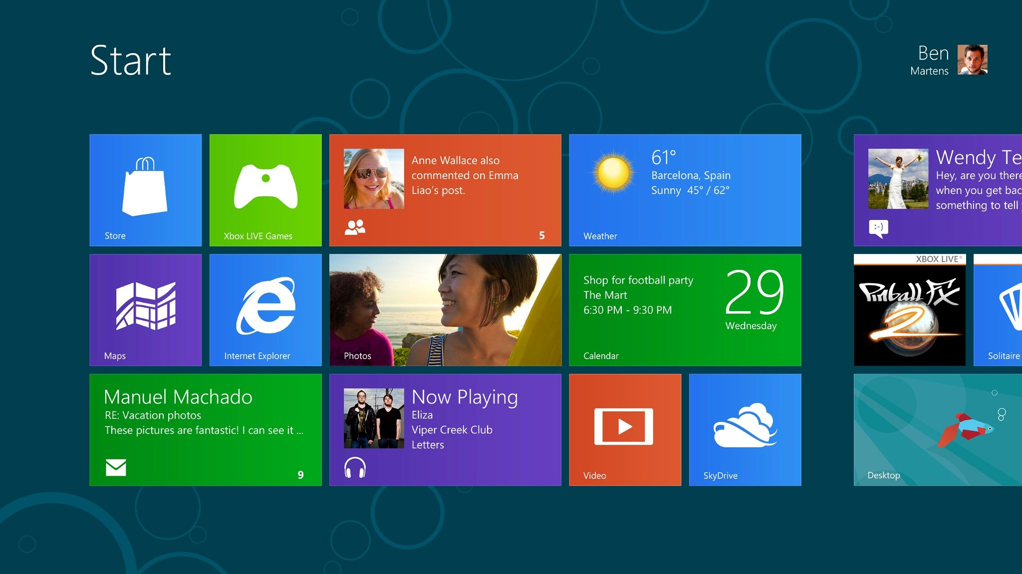 The new Windows 8 Consumer Preview Start screen