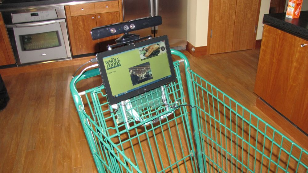 Puts kinect on shopping cart follows people around store geekwire