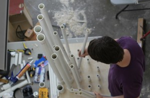 At work on the robotic PVC pipe organ at StudentRND
