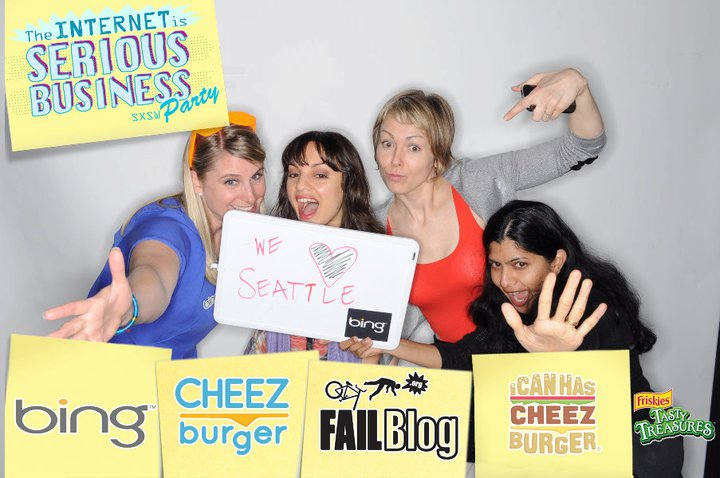 Crazier or craziest? Shauna Causey, Monica Guzman, Amy Lakhani and Maya Bisineer at one of many SXSW parties.