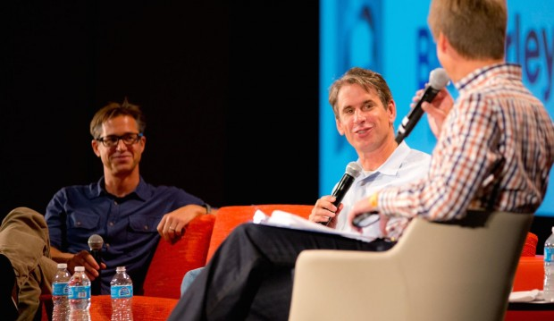 GeekWire's John Cook interviews Expedia and Zillow co-founder Rich Barton (left) and Benchmark Capital's Bill Gurley at the 2013 GeekWire Summit.