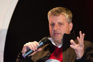 David Bluhm, President and CEO of Z2Live, speaks at the GeekWire Summit. (© Karen Ducey 2012)