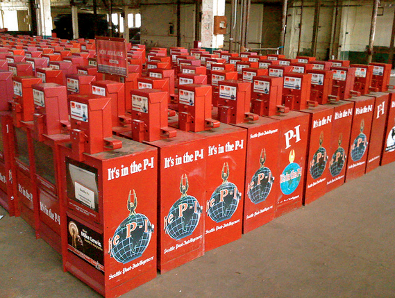 P-I newspaper boxes. Photo Kurt Schlosser