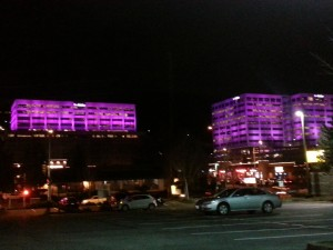 To celebrate 2013, T-Mobile is shining a bright Magenta light on its corporate headquarters buildings in Bellevue for the next two weeks.