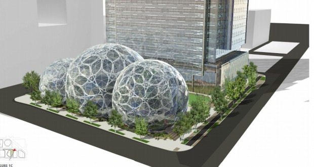 Amazon's planned biodomes in the Denny-Triangle area of Seattle.