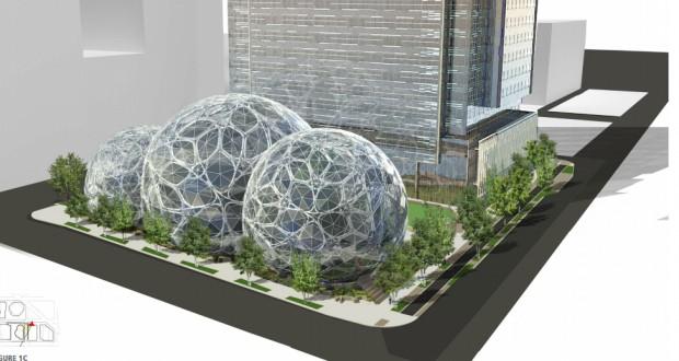 Amazon's planned campus the Denny-Triangle area of Seattle includes a futuristic biodome structure.