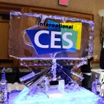 The CES 2014 ice fountain features two funnels — one for juice and another for vodka, both eventually combining into a glass and then consumed by journalists.