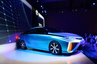 Toyota's four-seat hydrogen fuel-cell powered vehicle can drive 300 miles on one five-minute fill up. The cars will arrive in the U.S. in 2015.