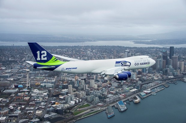 Boeing's new Seahawks-themed 747-8 Freighter flies took a short 13-minute flight from Paine Field to Boeing before . Photo courtesy of Boeing.