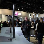 LG shows off its curved smartphones at its CES booth.