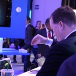 A CES attendee tries out Intel's 3D gesture control technology at CES.