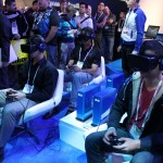 CES attendees try out the Oculus Rift headsets.
