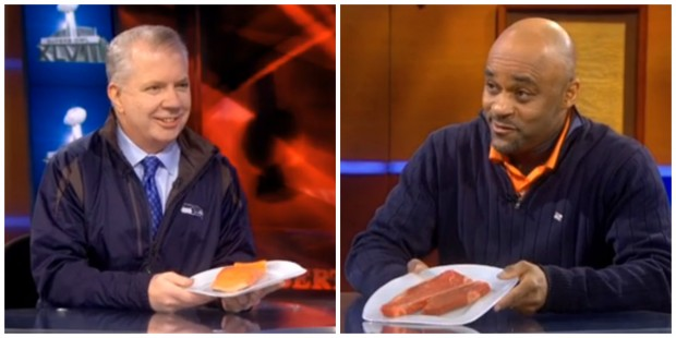 Seattle Mayor Ed Murray and Denver Mayor Michael Hancock made a food bet for the Super Bowl on the Colbert Report Thursday evening.