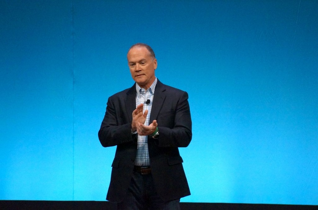 AT&T executive John Donovan announces the sponsored data plan at CES this morning.