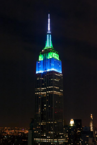 New York's Empire State Building turned blue and green for the Seattle Seahawks.