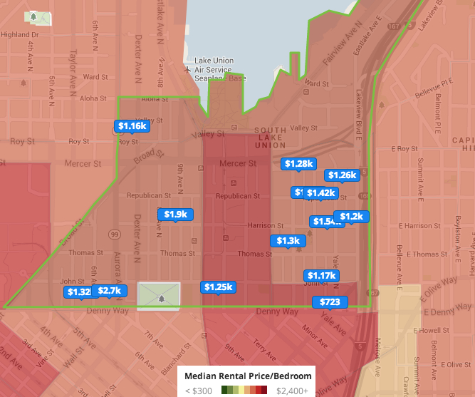 Red hot rentals Seattles South Lake Union now more expensive