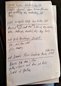 Levine adapts his handwritten notes into shared notes on wine community hub Cellar Tracker.