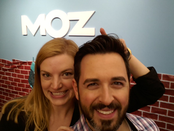 Rand Fishkin, right, handed the Moz CEO reigns to Sarah Bird last month.