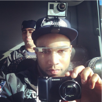 Seahawks receiver Golden Tate, here wearing his GoPro during Super Bowl media, apparently doesn't want UberX to leave Seattle.