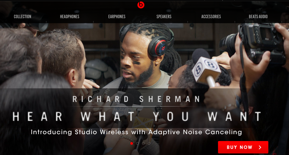 Sherman has racked up endorsement deals, like the one here with Beats By Dre,  in light of his new-found fame.